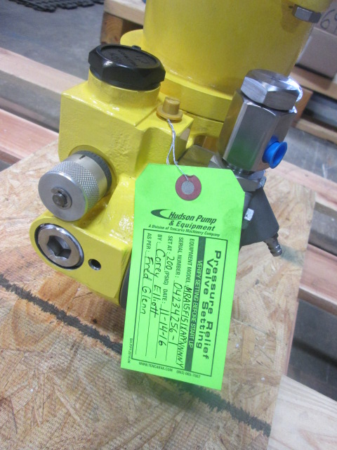 Milton Roy Metering Pump Valve Settings Tag