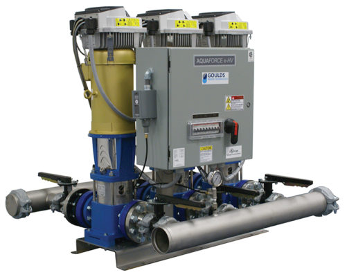 The AQUAFORCE e-HV pump stations are pre-engineered and fabricated packaged booster systems designed to transfer and increase the pressure of clean water.